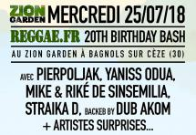 Reggae.fr 20th Birthday au Zion Garden